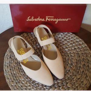 Salvatore Ferragamo ankle straps pale suede pumps
